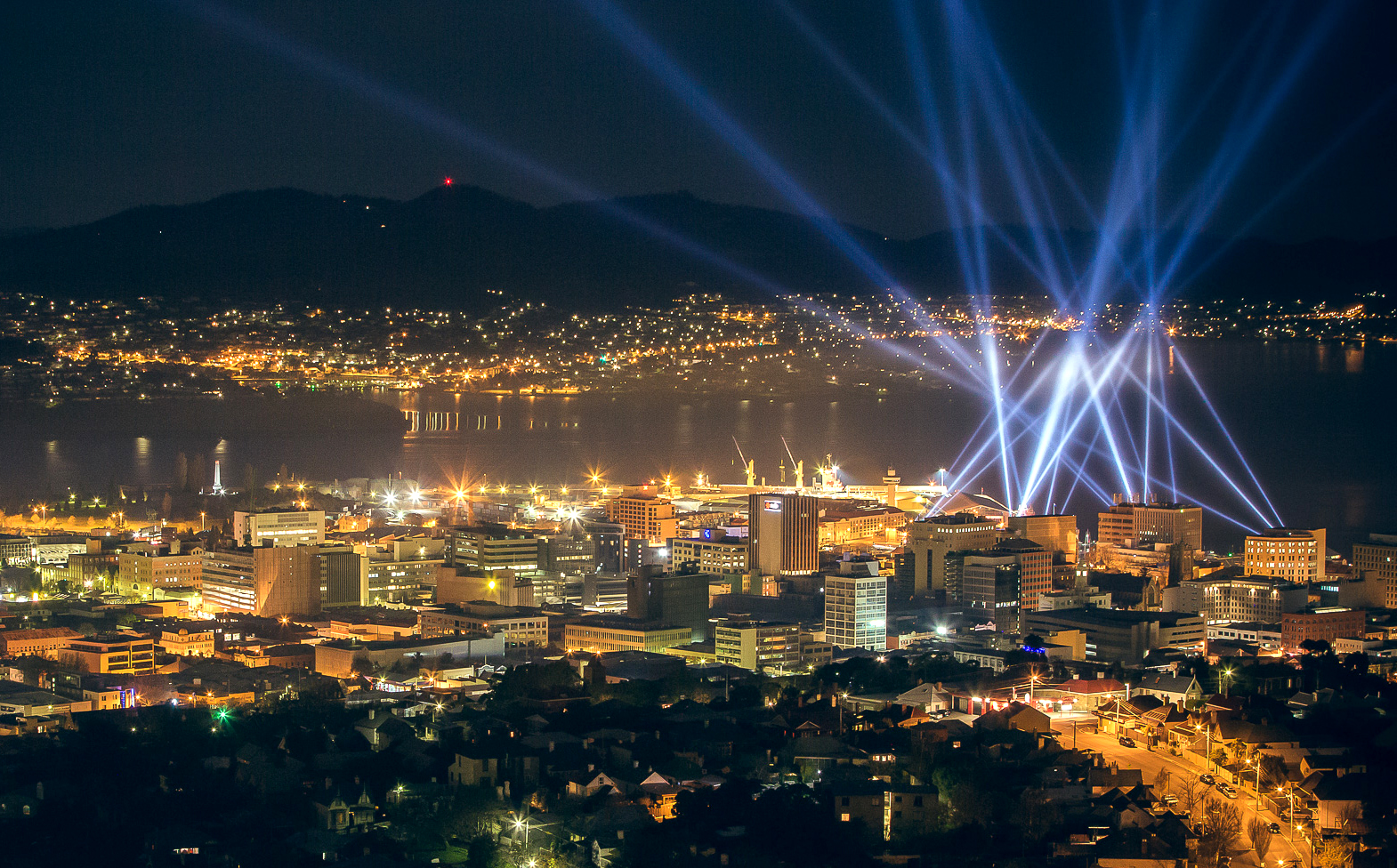 A cityscape of Hobart, during Dark Mofo