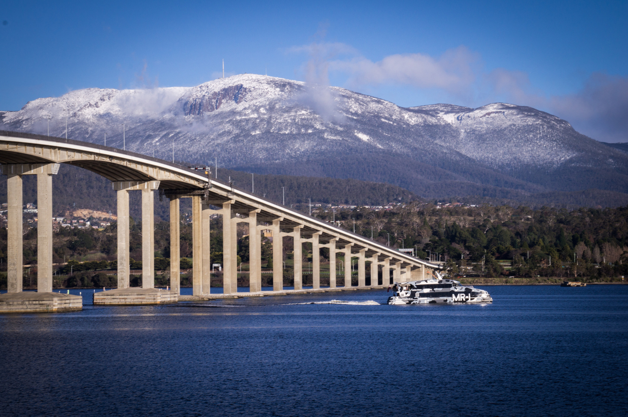 Tasman bridge view from Rose Bay near Hobart, Tasmania Australia