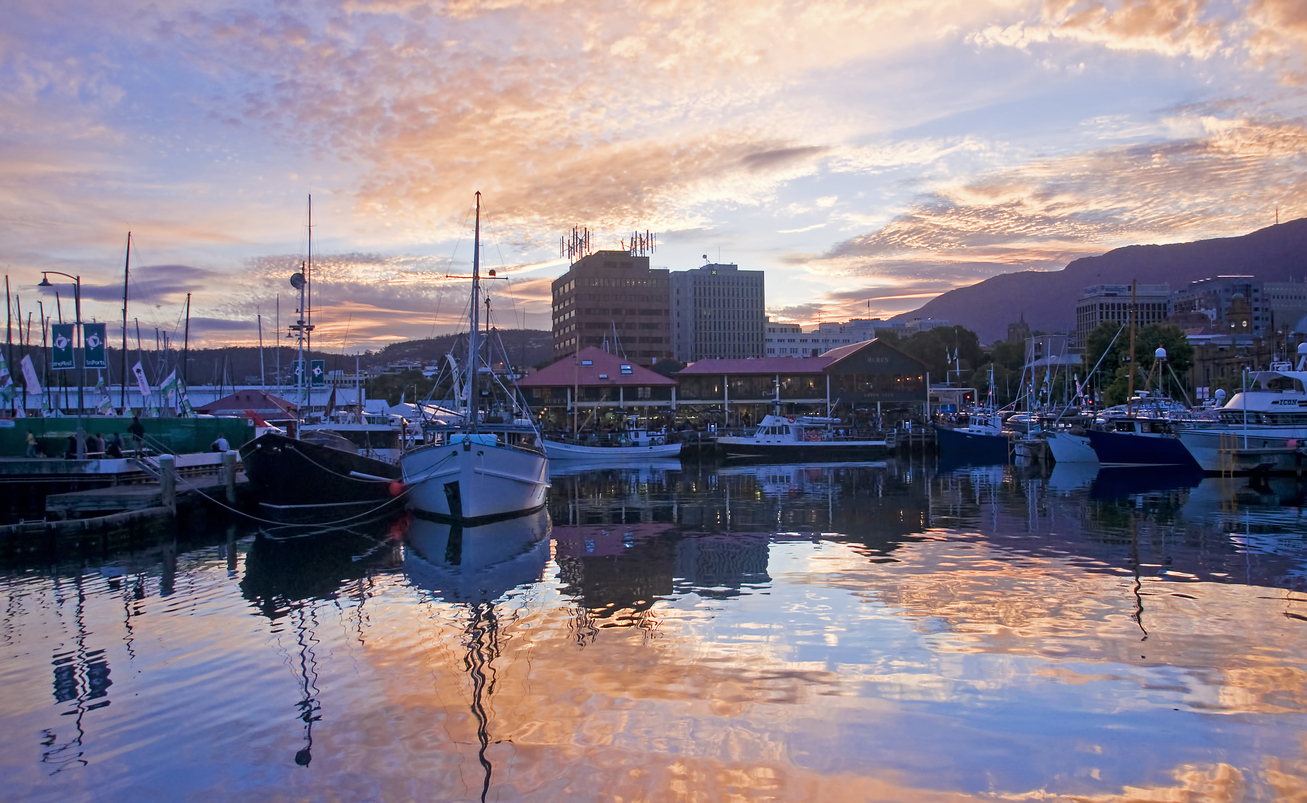 View of the port in Hobart